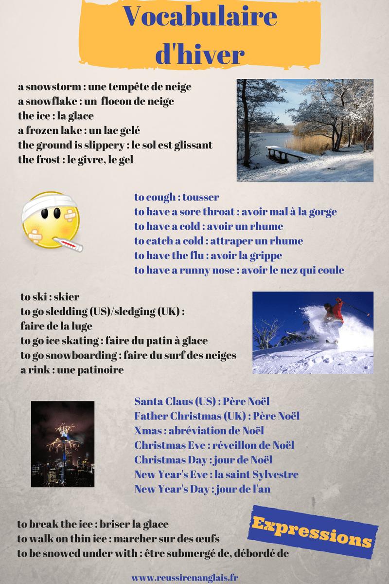 vocabulaire anglais de l'hiver